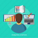 analysis, analysis system, chart, concept, development, system icon