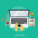 concept, development, idea, typing