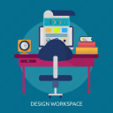 computer, design, freelance, graphic, studio, workspace icon
