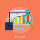 analytic, keyword, seo, tag, traffic icon