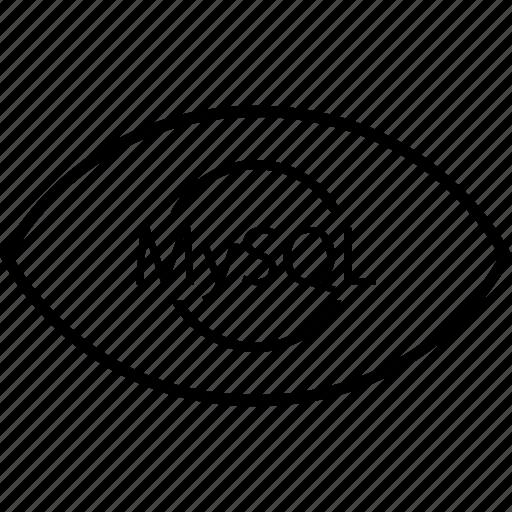 back, end, eye, mysql, programming icon