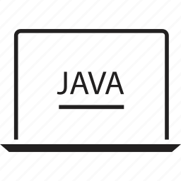 back, end, java, laptop, program, script icon