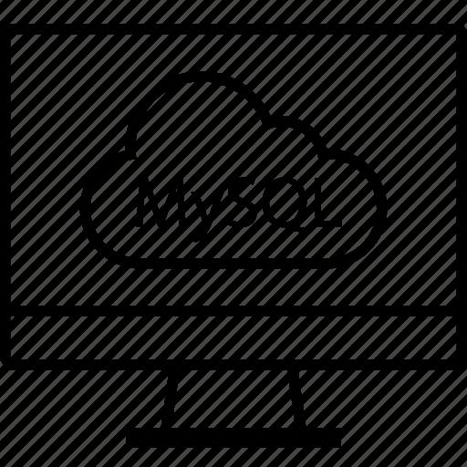 back, cloud, end, mysql, programming icon