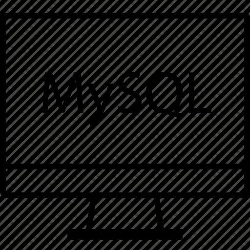 back, end, monitor, mysql, programming icon