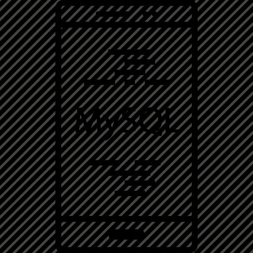 back, end, mysql, programming icon
