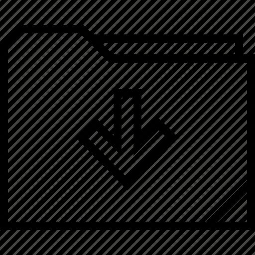 arrow, down, folder, point icon