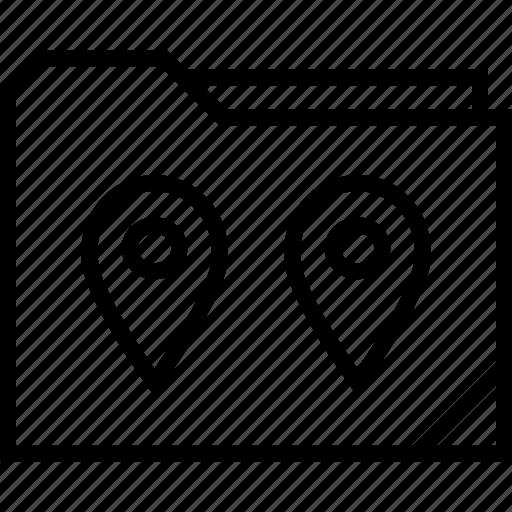 folder, gps, location icon