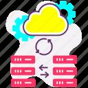 cloud server, data exchange, data server, data sync, database, web icon