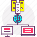 automation, client server, computer, data flow, web development icon