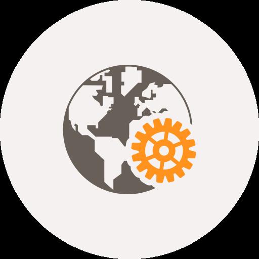 development, gear, globe, internet, settings, web, world icon
