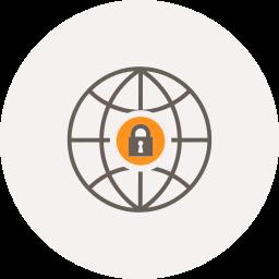 globe, internet, locked, locker, safe, security, world icon