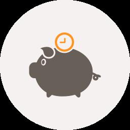 clock, money, pig, piggy bank, saving, time icon