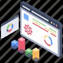 data analytics, data arranging, data evaluation, data ranking, data visualization icon