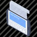 content writing, copywriting, creative text, scripting, typewriter icon