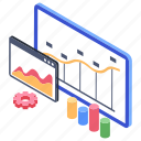 analytics, control board, dashboard, financial analysis, infographic board icon