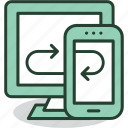 computer, connection, mobile, smartphone, sync, synchronization, upload icon