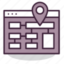 internet, map, navigation, page, pin, sitemap, web icon