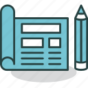 blueprint, design, document, drawing, pencil, plan, webpage icon