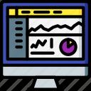 analytics, computer, development, device, web icon
