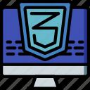 computer, css, development, device, three, web icon