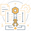 technical project, cogwheel, arrows, mechanic arm