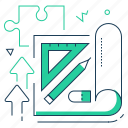pencil, draft, plan, project icon