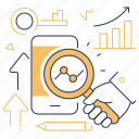 diagrams, loupe, optimization, smartphone