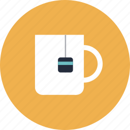 cup, drink, label, mug, office, tea, teacup icon