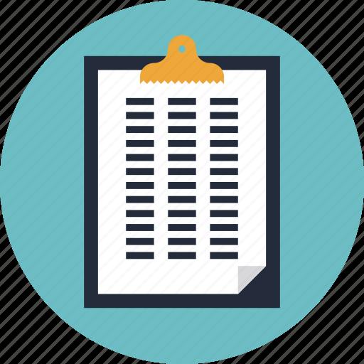 business, clip, clipbook, data, development, document, file, info, information, list, page, paper, plan, report, result, schedule, sheet, spreadsheet, statement icon