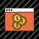 coin, devoloper, money, page, web icon icon