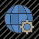 devoloper, globe, settings, web icon icon