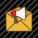 announcement, envelope, letter, loudspeaker icon icon