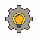 bulb, gear, idea, settings icon icon