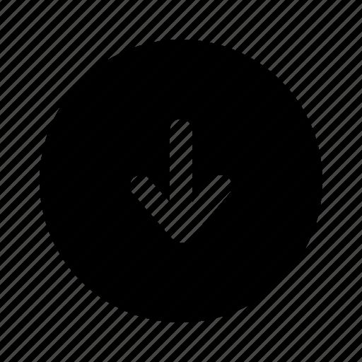 arrow, bottom, down, download, downloading, yumminky icon