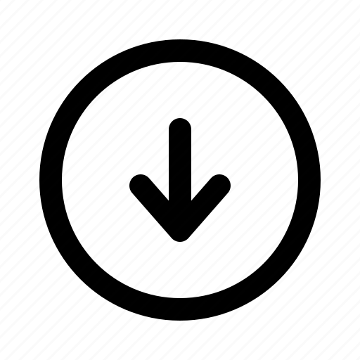 arrow, bottom, direction, down, download, downloading, yumminky icon