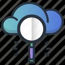 cloud, loop, magnifier, searching, web hosting icon
