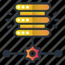 database, dedicated, routing, server, web hosting icon