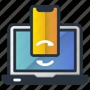 computer, data, smartphone, synchronization, web hosting icon