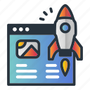 access, fast, page, rocket, web hosting icon