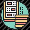 database, digital, ethernet, hub, server icon