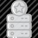 data, data storage, hosting, network server, server, star, web icon