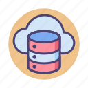 cloud, cloud hosting, cloud server, cloud storage, database icon