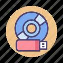 cd, data storage, flash drive, pendrive, storage, thumbdrive, usb icon