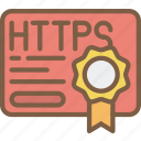certificate, data, data storage, hosting, http, network server, web icon