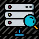 data, data storage, hosting, network, network server, search, web icon