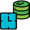 backup, data, data storage, database, hosting, scheduled, web icon