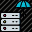data, data storage, hosting, insurance, network server, server, web icon