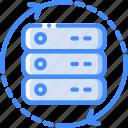 data, data storage, hosting, network server, refresh, server, web icon