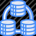 data, data storage, database, hosting, network server, replication, web icon