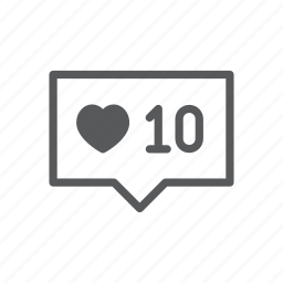 balloon, bubble, computer, good, heart, instagram, number icon